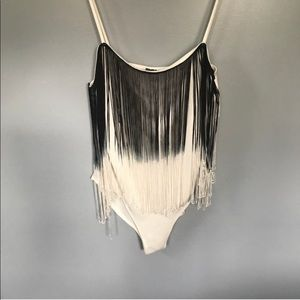 Large spaghetti white and black sexy body suit